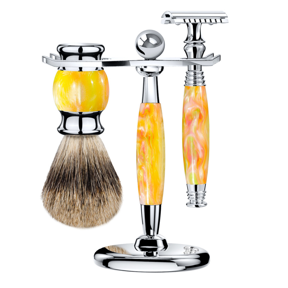 ZY Man Double Edge Shaving Safety Razor Set Long Handle + Best Badger Shaving Soap Brush+ Stand Holder Classic Kit grandslam 3pcs set man double edge safety razor shaving razor set long handle badger shaving brush stand holder wet shave tool