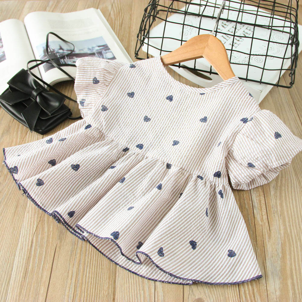 Hurave hot sale New Casual Striped o-neck cotton girls cute shirts baby Girl clothes summer short sleeve blouses Kids Clothes