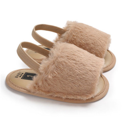 Baby Girl Soft Sole Crib Crystal  Shoes Cute Fluffy Fur Summer Slippers Sandals