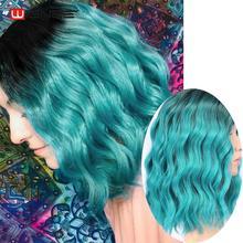 """Wignee Ombre Zwart Naar Sky Blue Pruik Kant Deel 14 """"Synthetische Pruiken voor Vrouwen Water Wave Pruik Blauw Cosplay hittebestendige Kort Haar"""