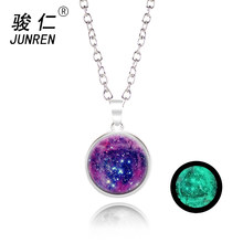Quick Sell Glow In the Darkness Crystal Necklace Jewelry Luminous Star Series Planet Pendant Necklace Glass Cabochon Necklaces(China)
