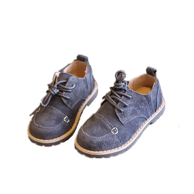 WENDYWU baby genuine leather flats children fashion lace-up for girl brand casual black shoe grey