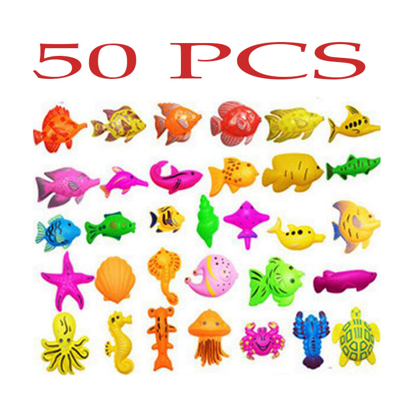 Wholesale 50pcs/ set Magnetic fish Toy Kids Fishing Game Baby Bath Toys Outdoor Funny Toy Set Style colors sent randomly