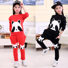 2pcs Baby Girls Kids Panda Clothes Set Long Sleeve Thicking Cashmere Pullover Coat Pants 2-7Y