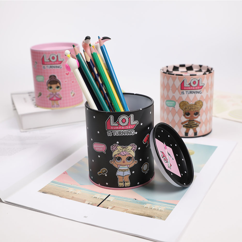 Topsthink Funny Girl Cylinder Organizer Stationery Opening Lid Pencil Holder Small Cartoon Multi Function Pen Holder
