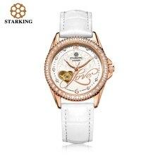 STARKING Señoras de La Manera Reloj Automático de Oro Rosa Relojes de Las Mujeres Vestido de Pulsera De Cuero Reloj de Pulsera de Diamantes AL0223 montre femme