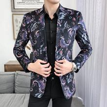 Floral Suit Mens Blazer Fashion Stage Jackets and Coats Vintage Flower Tuxedos Slim fit New