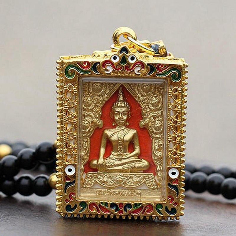 Vintage Golden Buddha Amulet Pendant Necklace Fashion Bead Chain Thailand Buddha Amulets Pendants Jewelry Necklace AMU2001 цена 2017
