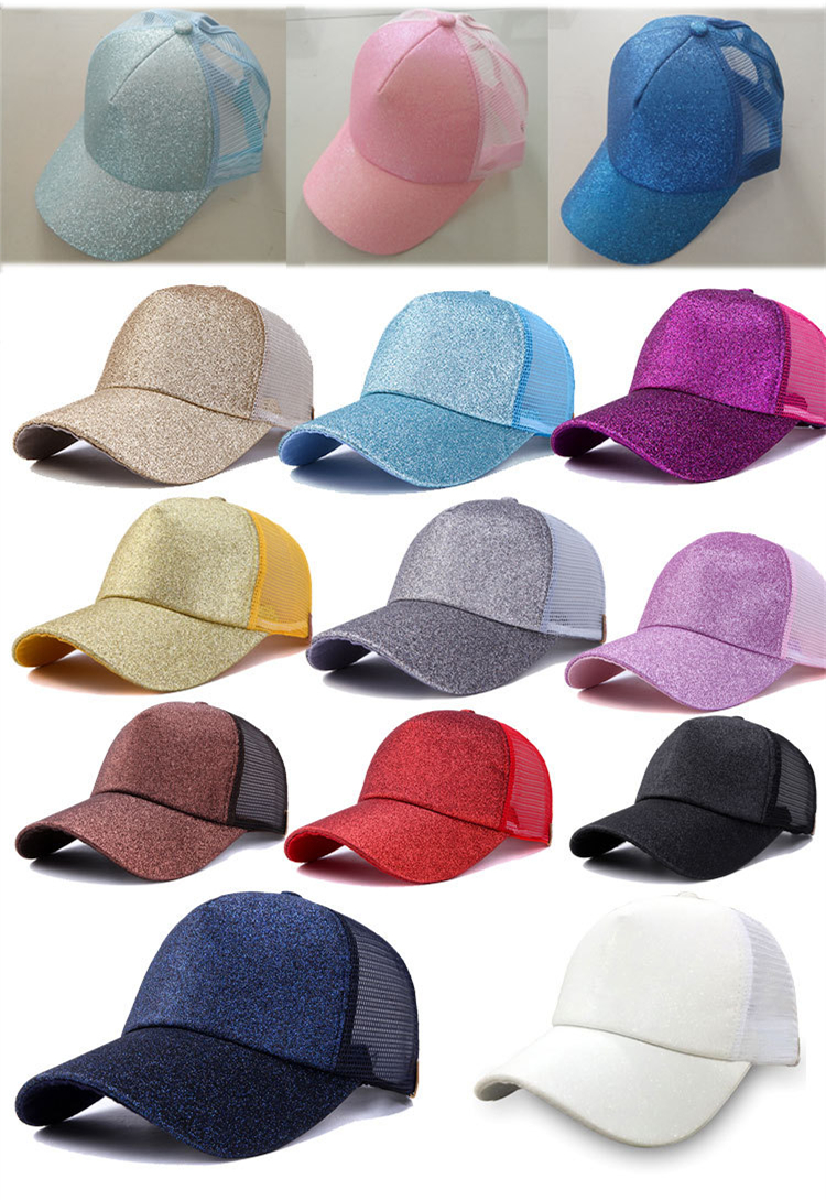 8e848bda91de47 This cap features a rounded bill, a glitter front, a mesh back with a glitter  Velcro adjustable back strap,
