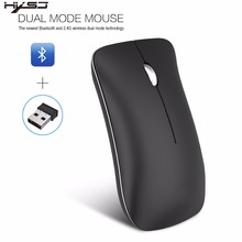 лучшая цена HXSJ T23 2.4G Wireless Mouse Bluetooth 4.0 Mice Utral Thin Dual Modes Laptop Gaming Mouse for Windows Mac Silent Mute Office