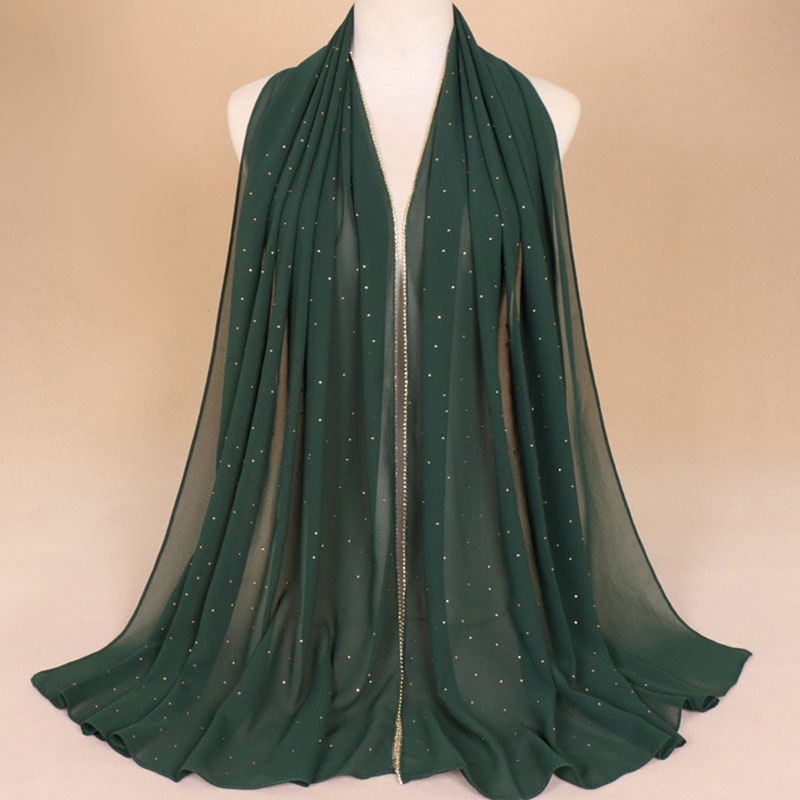 Chiffon Diamond Glitter   Scarves   Hijab Headband Fashion   Scarf     Wraps   Muslim Shawls Autumn Long Soft   Scarves   Bigsweety