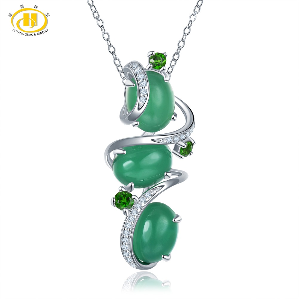 Hutang Green Agate Pendant Solid 925 Sterling Silver Natural Gemstone Diopside Necklace Fine Elegant Jade Jewelry