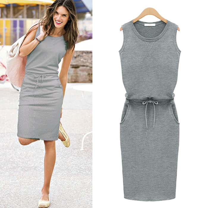 2015 Fashion Women Summer Slim Dress Trend Grey Sleeveless With ...