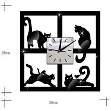 ZOOYOO 3D Cat Mirror Black Wall Clock Modern Design Home Decor Watch Wall Sticker levert dropship L628