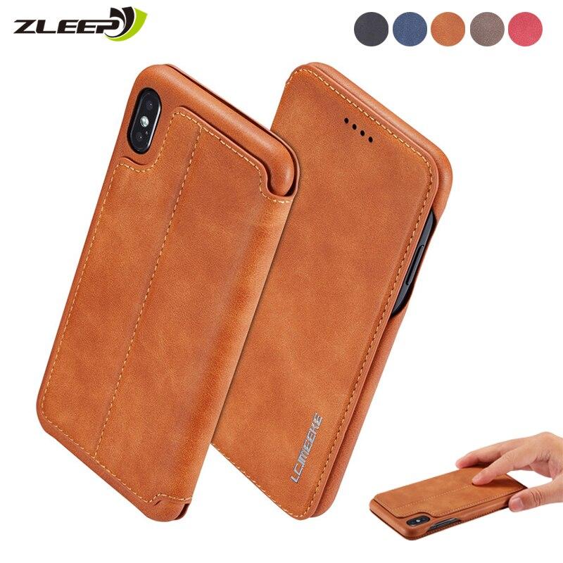 Couro de luxo etui caso do telefone para o iphone 6s 7 8 plus 11 pro xs max xr x flip forte suporte de cartão magnético capa funda