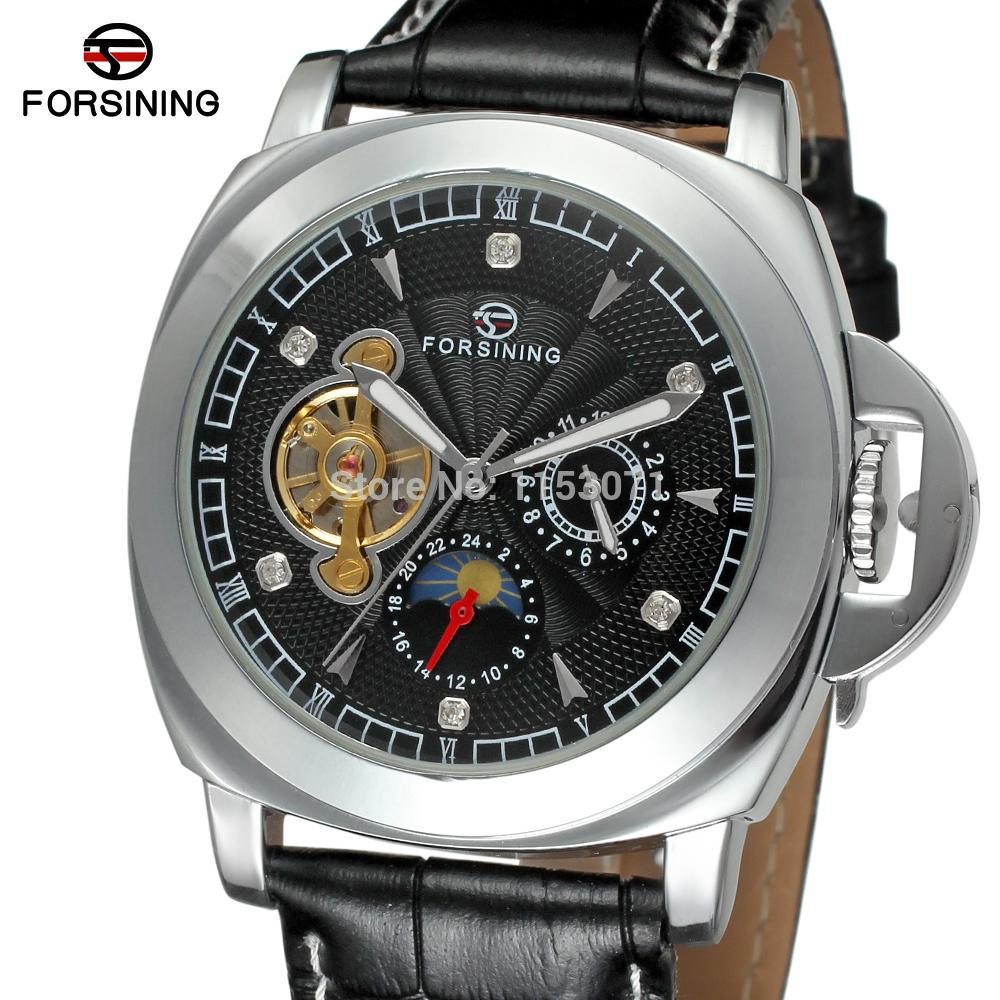 все цены на FSG005M3S3 new product for  Automatic watch with black genuine leather strap gift box free shipping fashion dress watch онлайн