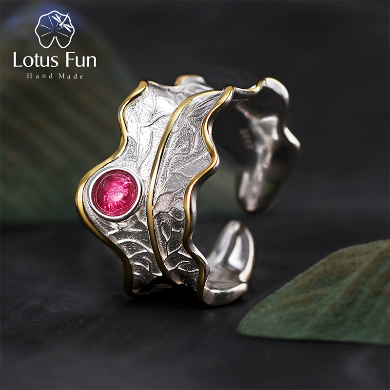 Lotus Fun Real 925 Sterling Silver Ring Natural Tourmaline Gemstones Fine Jewelry Adjustable Peony Leaf Rings for Women Bijoux 1