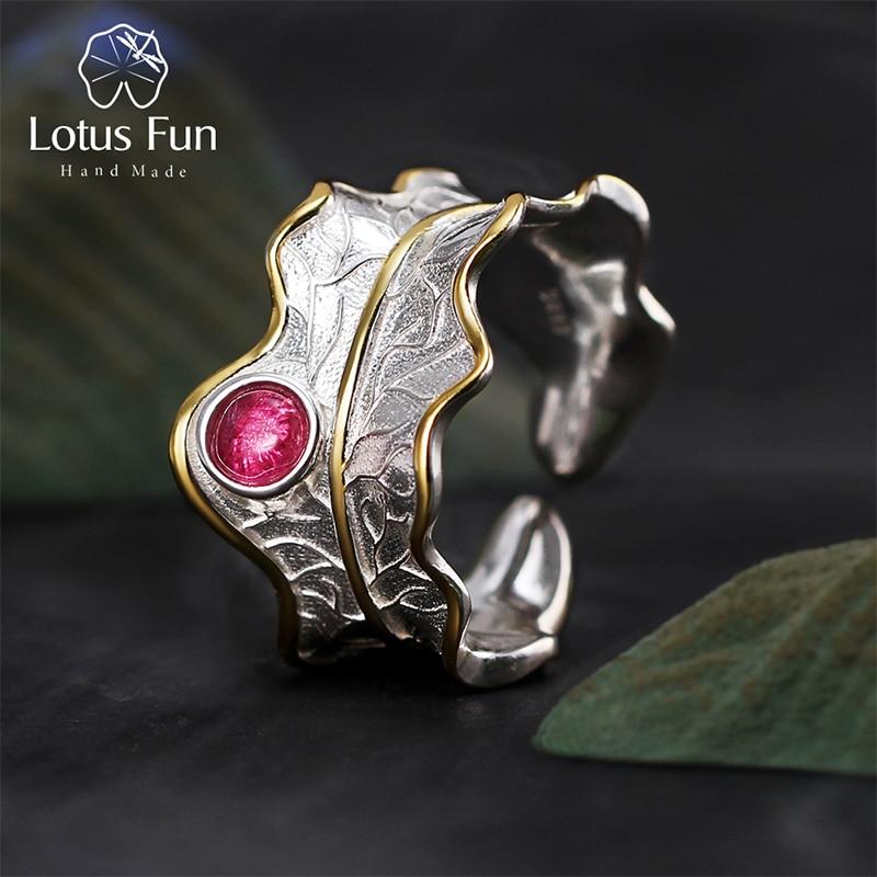 Rings Fine-Jewelry Natural Tourmaline Lotus Fun 925-Sterling-Silver Handmade-Design Women