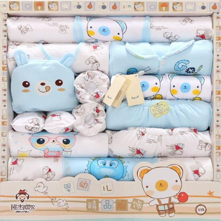 Autumn / Winter Thick Warm 100% Cotton Baby Newborn Gift Sets Baby Girls Clothing Sets Baby Boy Suit Infant Underwear 18 Piece