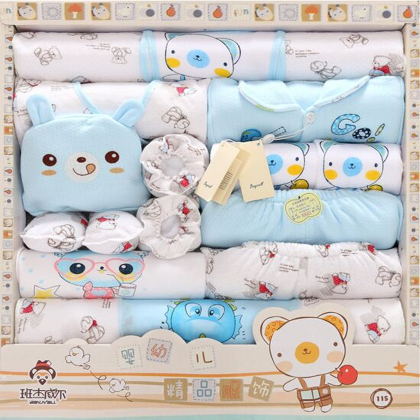 Autumn / Winter Thick Warm 100% Cotton Baby Newborn Gift Sets Baby Girls Clothing Sets Baby Boy Suit Infant Underwear 18 Piece