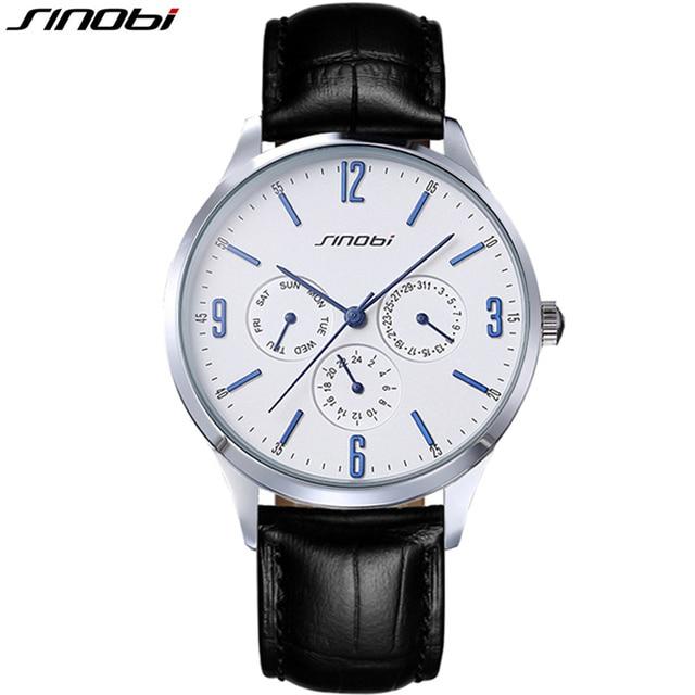 2016 Ultra Slim Top brand Quartz Watch Casual Business JAPAN SINOBI Genuine Leather Analog Watch Men's Relogio Masculino gifts