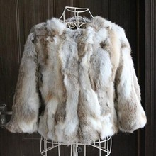 Real natural Genuine Rabbit Fur Coat  fashion jacket women winter furwaistcoats customized big plus size Free Shipping