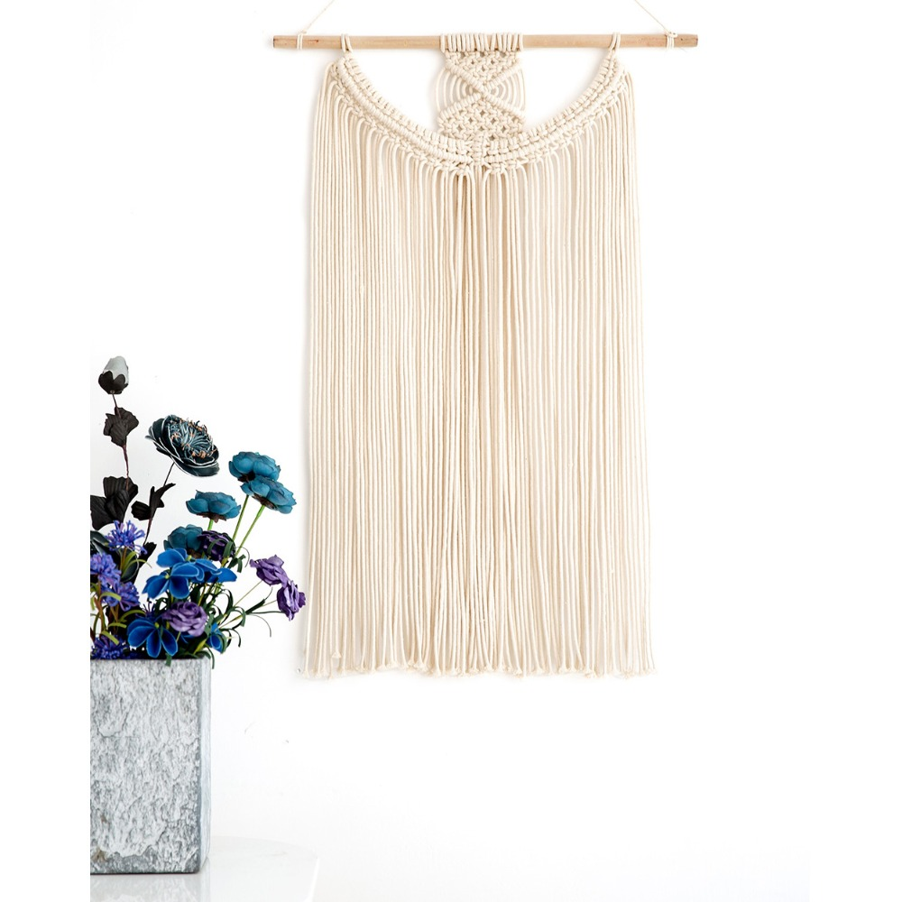 Macrame Wall Art Wedding Decoration Home Decor Handmade Wall Hanging Tapestry with Lace Fabrics