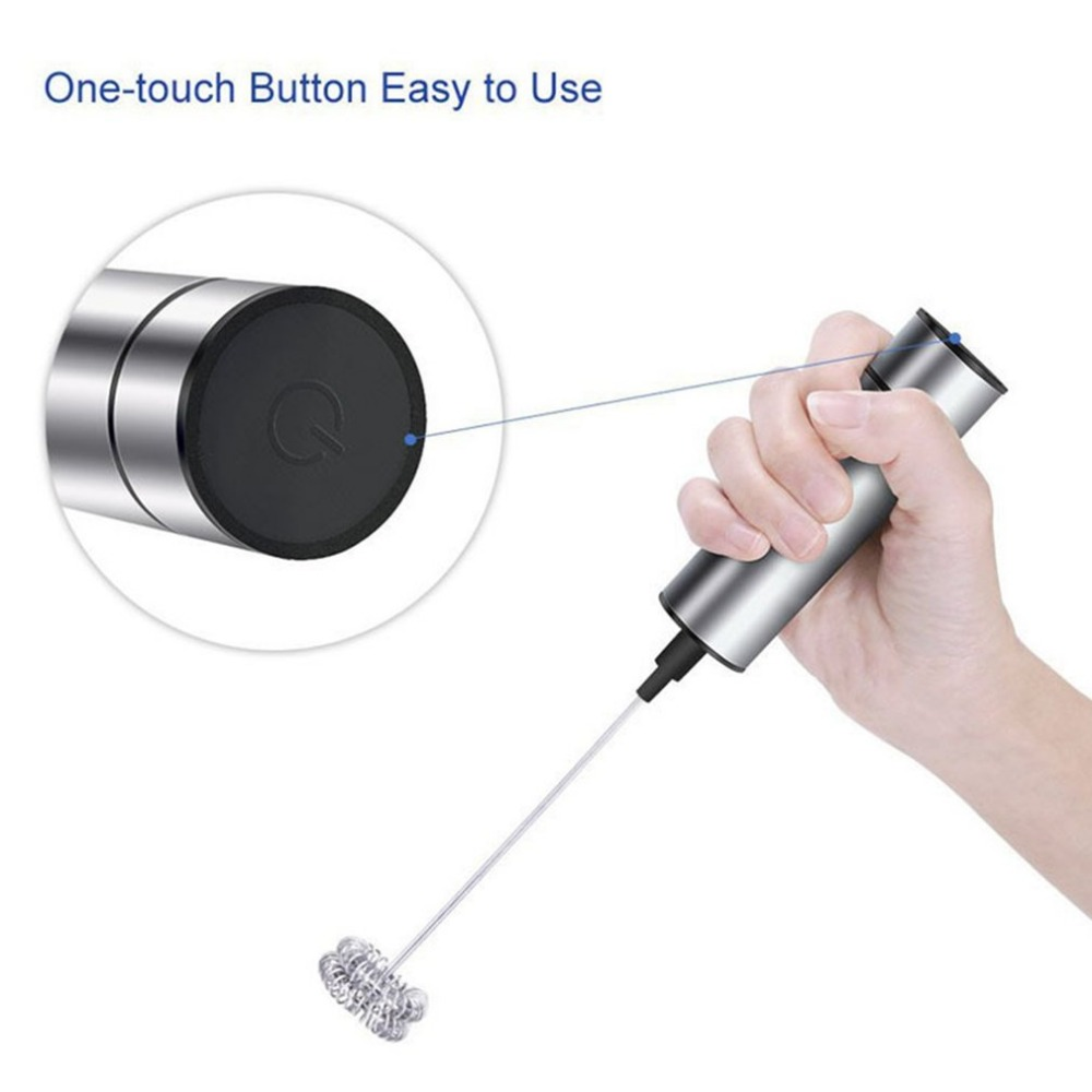 Electric Coffee Milk Frother Foamer Mixer Stainless Steel Latte Stirrer Gadget Tools Hand Held Stirrer For Hot Chocolate Latte