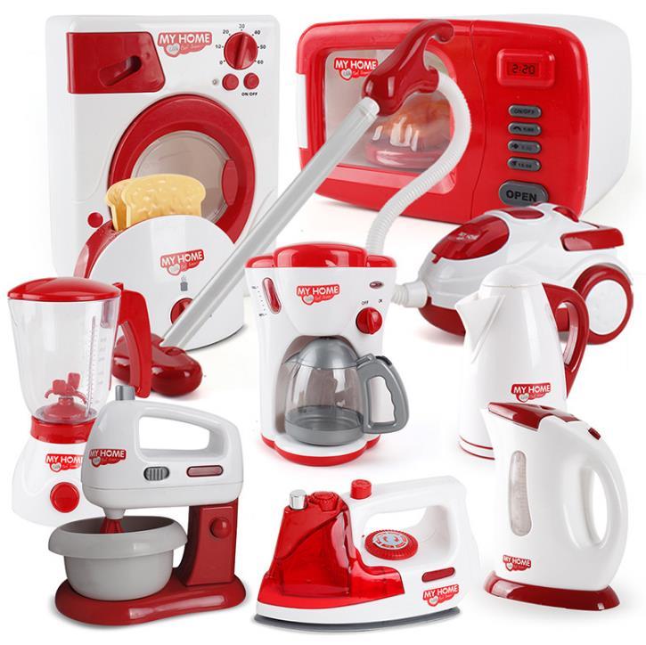 Miniature Kitchen toys Plastic Pretend Play kitchen appliance Children Toys With Music Light Kids Kitchen Cooking Toy цена