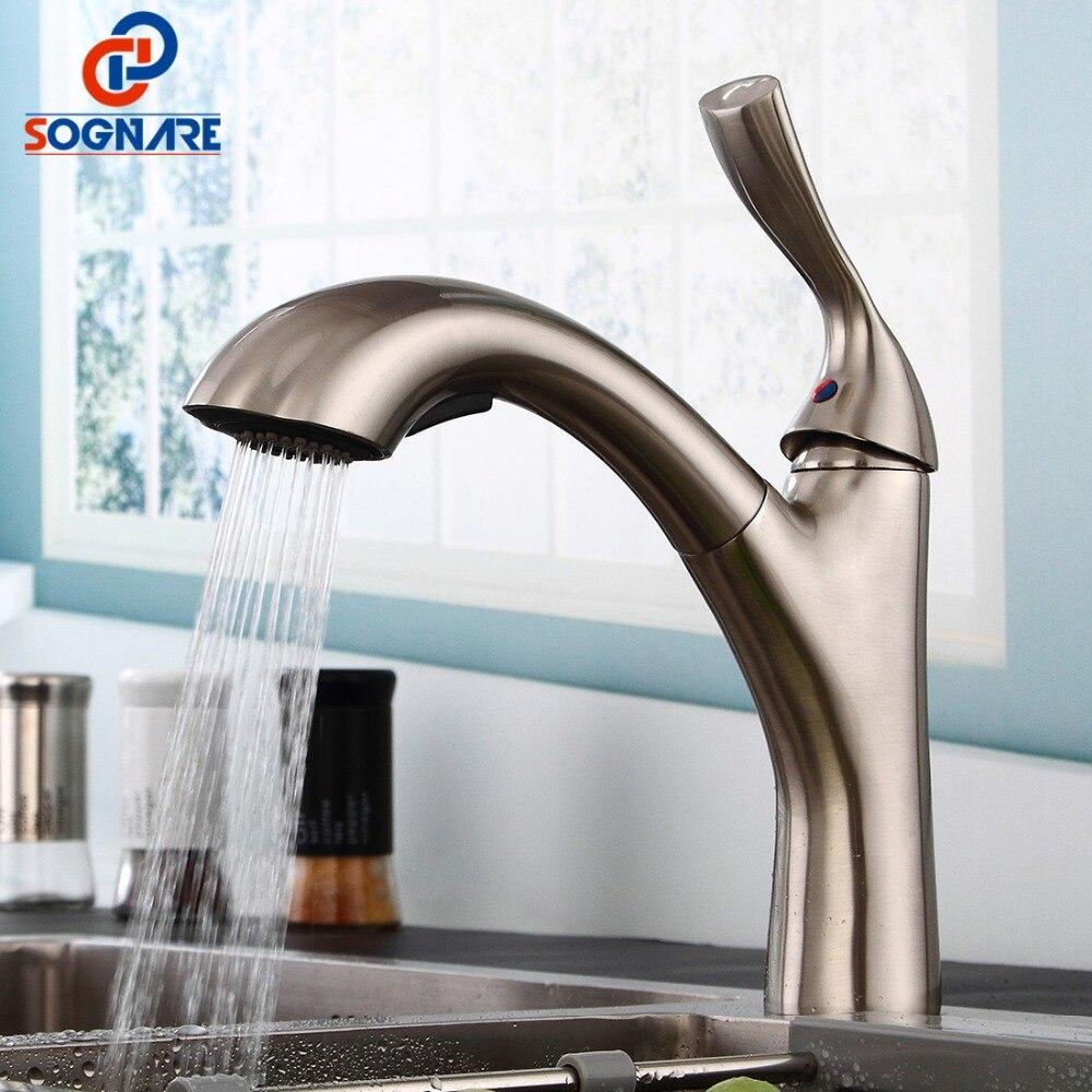 SOGNARE robinet d'évier de cuisine à poignée unique avec pulvérisateur à tirette robinet de cuisine chaud et froid en laiton Nickel brossé grue à eau