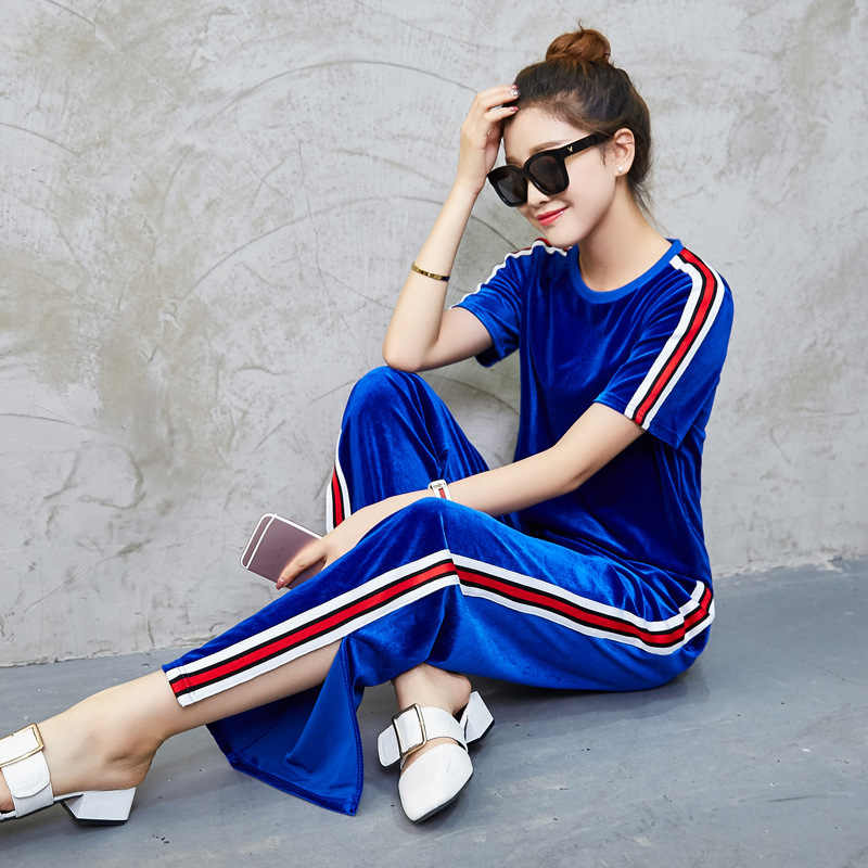 b8b789b5830d7 Velvet Tracksuits Set Two Piece 2019 Women Summer Clothes Casual Outfits  Short Sleeve Striped Tops and