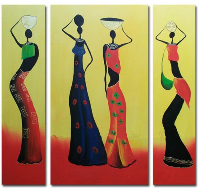 Hand Painted Colorful Figure Painting Modern Abstract Africa Women ...