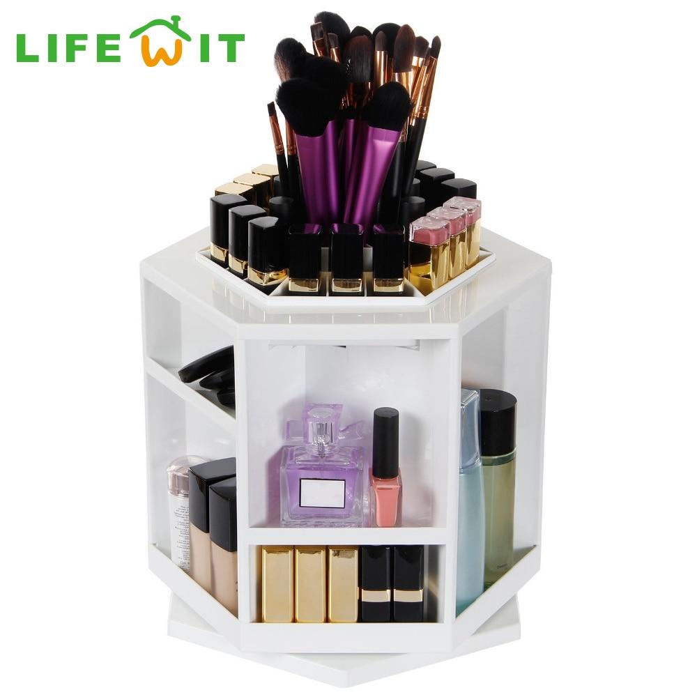 Lifewit White Makeup Organizer 360 Degree Rotating Spinning Lipstick Tower  Cosmetics Storage Brush Holder Box Large  In Storage Boxes U0026 Bins From Home  ...
