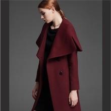 women jacket women winter coat Autumn winter high fashion Slim lapel long section double-breasted wool coat jacket Free Shipping