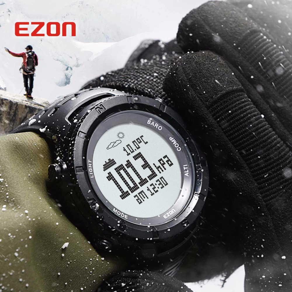 Neue EZON Multifunktionale Wander Uhr männer Sport Digitaluhr Stunden Höhenmesser Barometer Kompass Thermometer Climing Armbanduhr