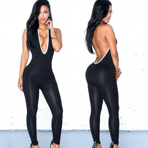 Sexy Black Spandex Lycra Deep V Neck Jumpsuit Women s Halter Catsuit Club Wear Backless Halloween