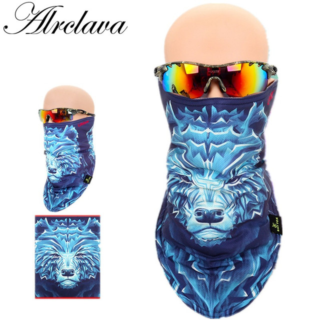 Outdoor Snowboard Motorcycle Winter Warmer Sport Tiger Full Face Animal Ski  Mask Pirates 3D Printed Triangular Scarf Skiing Mask 632cc7f740d4