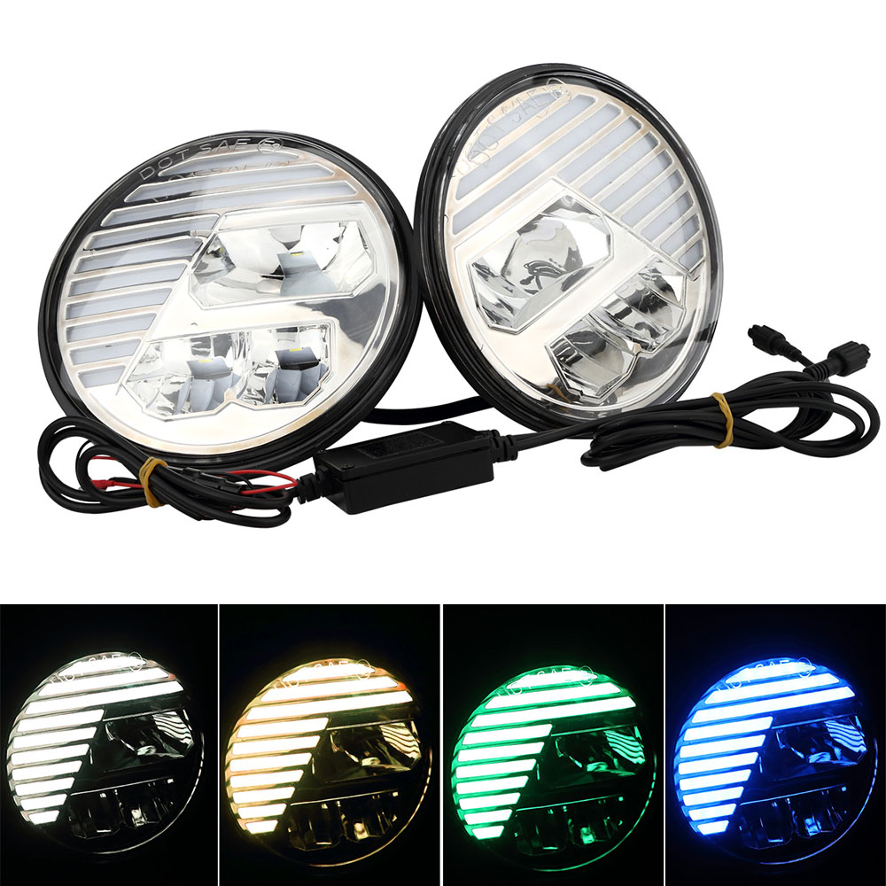 лучшая цена Marlaa 7 inch Headlights RGB led Music Mode & Flashing Function & Bluetooth Remote for 97-17 Jeep Wrangler JK TJ & Wrangler