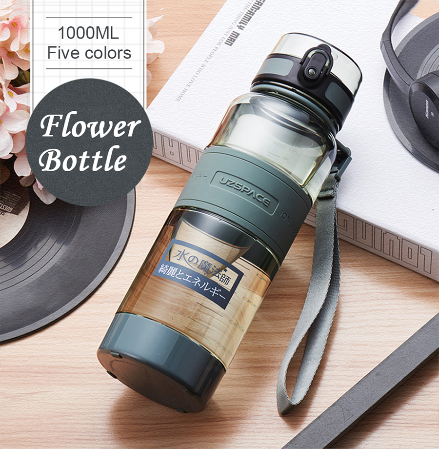 1UZSPACE 1000 ml Water Bottle Portable Leakproof Eco-friendly Sports Hiking Tea My Drink Bottle Large Capacity Kettle With filter