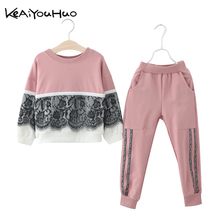 2019 Spring Autumn Children Clothing Girls Clothes T-shirt+Pants 2pcs Kids Clothes Girls Sport Suits For Girls Clothing Sets cheap KEAIYOUHUO Casual Full Print O-Neck REGULAR Fits true to size take your normal size Pullover Down Parkas Polyester COTTON