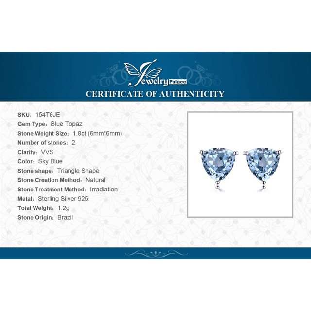 JewelryPalace Natural Sky Blue Topaz Stud Earrings 925 Sterling Silver New Fashion Accessories On Sale For Women As Gifts