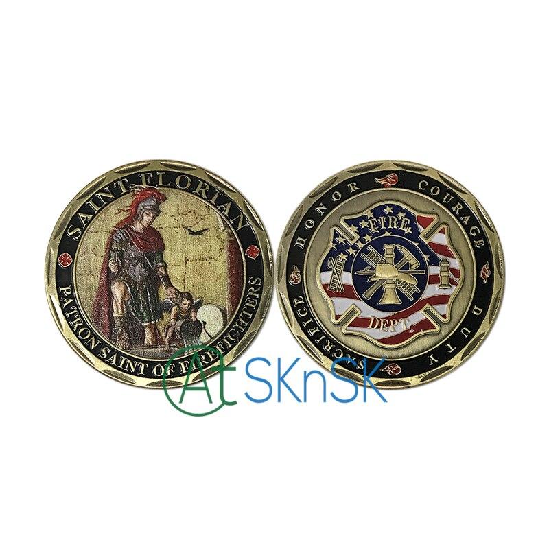 1 unids/lote San Florián recuerdo bombero monedas antiguo bronce plateado ee.uu. desafío monedas colección como regalo del recuerdo