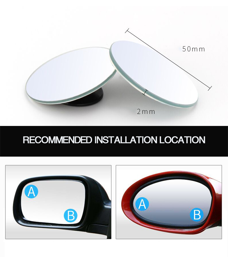 HTB1J9UTQjTpK1RjSZKPq6y3UpXai 2pcs/lot Car Accessories Small Round Mirror Car Rearview Mirror Blind Spot Wide angle Lens 360 degree Rotation Adjustable