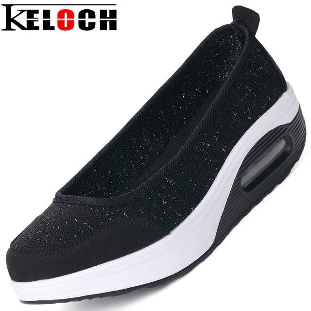 Keloch Verano Zapatos Mujer Heighten Zapatos Casuales Madre Slip-On Pisos de Plataforma de Malla Zapatos de Las Mujeres