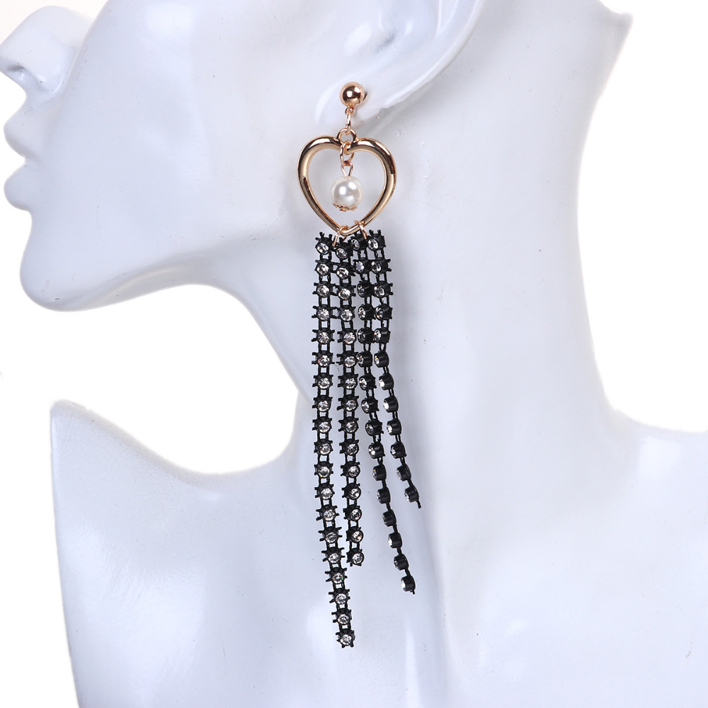 8seasons Mesh Jewelry Hoop Earring Tassel White Heart Clear Rhinestone  Acrylic Imitation Pearl 14cm(5