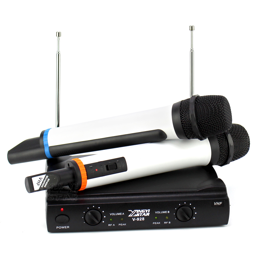 Professional Karaoke Wireless Microphone System 2 Channel Receiver Cordless Handheld Microphones For DJ Mixer Audio Stage