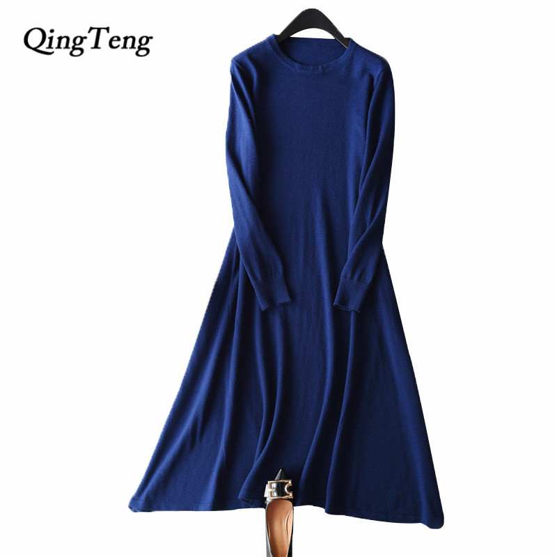 QingTeng Women's Winter Dress Clothing For Women Spring Autumn Black Knitted Warm Vintage Retro Long Casual Dress Shirt