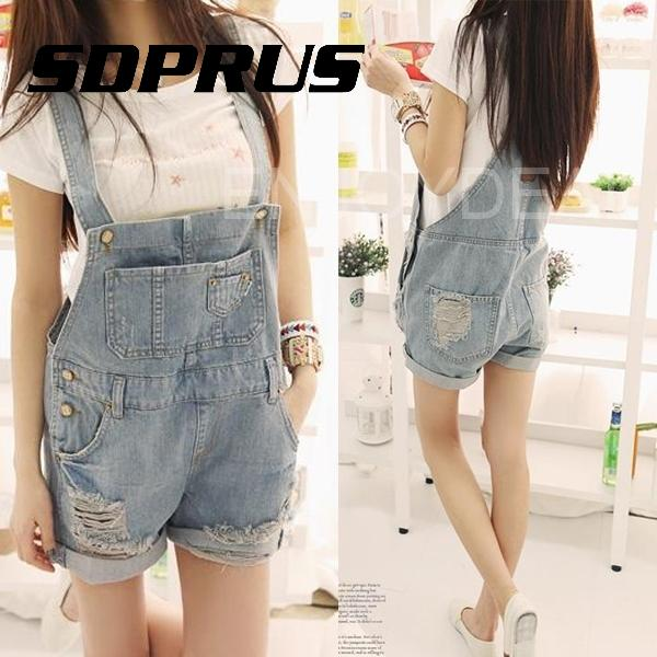 Clearance Sale Lady Girl Casual Washed Denim Hole   Jeans   Jumpsuit Overall Short Gallus Pants S