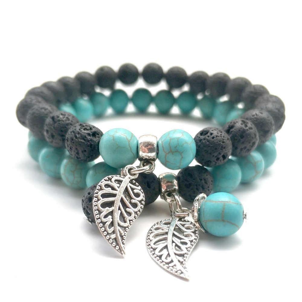 Lover Leaf Charms 8Mm Groen Zwart Wit Rood/Lava Kralen Armbanden Diy Essentiële Olie Diffuser Armband Yoga sieraden