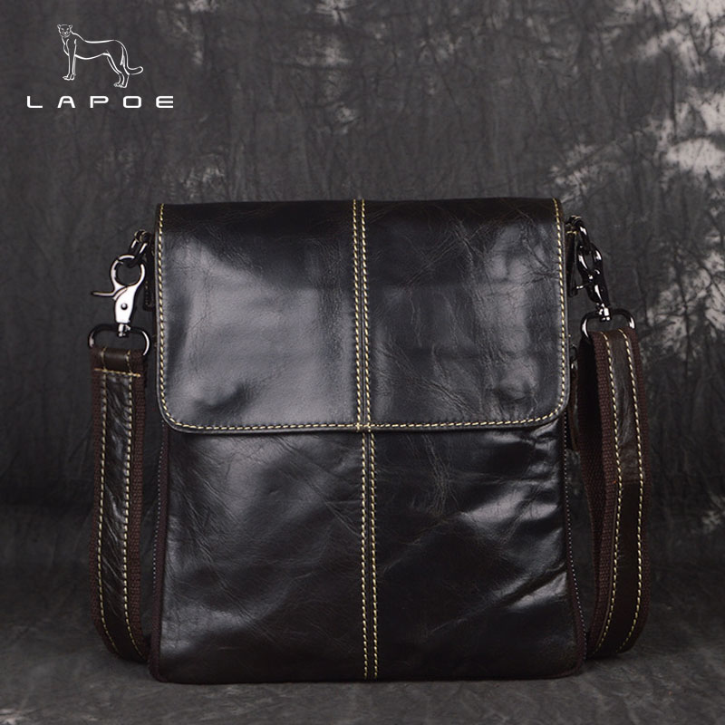 LAPOE Genuine Leather Bag Men leather Bags Messenger Bag Laptop Male Man Casual Tote Shoulder Crossbody bags Handbags Men цена 2017